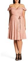 City Chic Plus Size Women's Ooh La La Faux Suede Dress