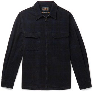 Beams Checked Cotton-Corduroy Zip-Up Shirt