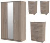Swift Halton 4 Piece Package - 3 Door Mirrored Wardrobe, 5 Drawer Chest and 2 Bedside Chests