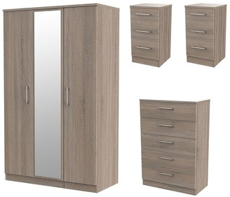 Swift Halton Part Assembled4 Piece Package - 3 Door Mirrored Wardrobe, 5 Drawer Chest and 2 Bedside Chests