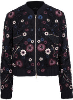 Needle & Thread Embellished Georgette Bomber Jacket - Midnight blue