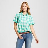 Merona Women's Short Sleeve Favorite Shirt Green Plaid