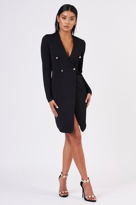 Club L Womens **Black Girl Boss Blazer Wrap Dress By Black