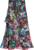 Peter Pilotto Printed Silk Midi Skirt