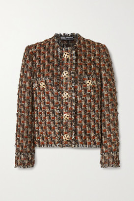 Dolce & Gabbana Embellished Metallic Boucle-tweed Jacket - Black