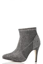 Quiz Grey Textured Pointed Ankle Boots