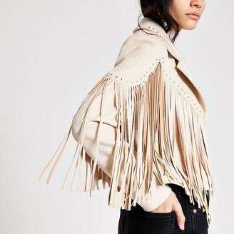 River Island Cream suedette fringe studded jacket