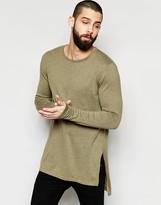 Asos Longline Side Split Sweater in Khaki