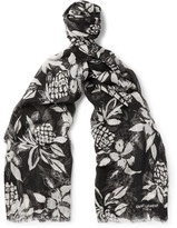 Saint Laurent Hibiscus-print Cashmere And Silk-blend Scarf
