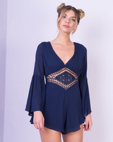 Missy Empire Narina Navy Crochet Bell Sleeve Playsuit