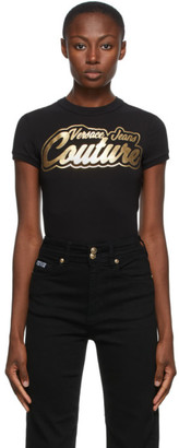 Versace Black Institutional Logo College T-Shirt
