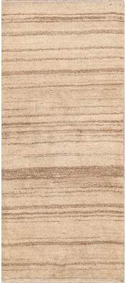 "BEIGE Isabelline One-of-a-Kind Malachi Gabbeh Persian Modern Hand-Knotted 2'9"" x 6'6"" Wool Area Rug Isabelline"