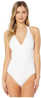 La Blanca Island Goddess Multi Strap Cross-Back One-Piece (White) Women's Swimsuits One Piece