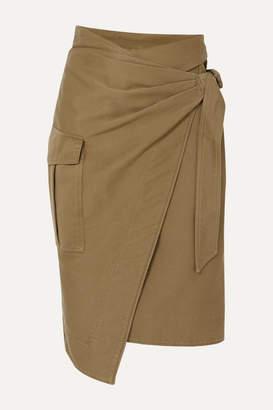 Etoile Isabel Marant Giulia Cotton-twill Wrap Skirt - Army green