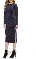 Buffalo David Bitton Back Off Long Sleeve Midi Velvet Dress