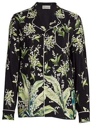 RED Valentino Silk Floral Piped Blouse