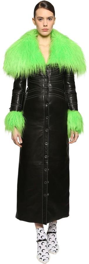 Marine Serre Long Leather Coat W/ Faux Fur Details