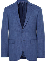 Canali Blue Travel Slim-fit Wool, Silk And Linen-blend Suit Jacket