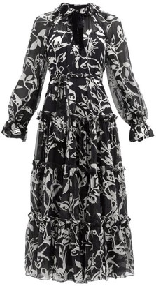 Zimmermann Ladybeetle Floral-devore Chiffon Dress - Black Multi