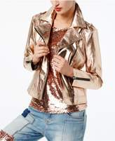INC International Concepts Metallic Faux-Leather Moto Jacket, Created for Macy's