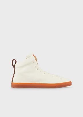 Giorgio Armani Washed Nappa Leather, High-Top Sneakers