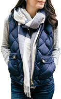 Pink Queen Women's Winter Casual Waist Coat Quilted Pocket Vest Jacket Navy Blue