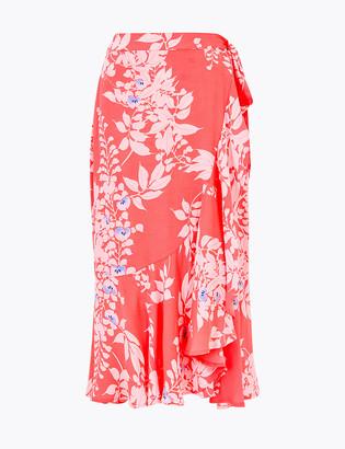 Marks and Spencer Printed Ruffle Midi Wrap Skirt