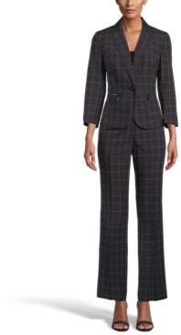 Le Suit Windowpane Check One-Button Pantsuit