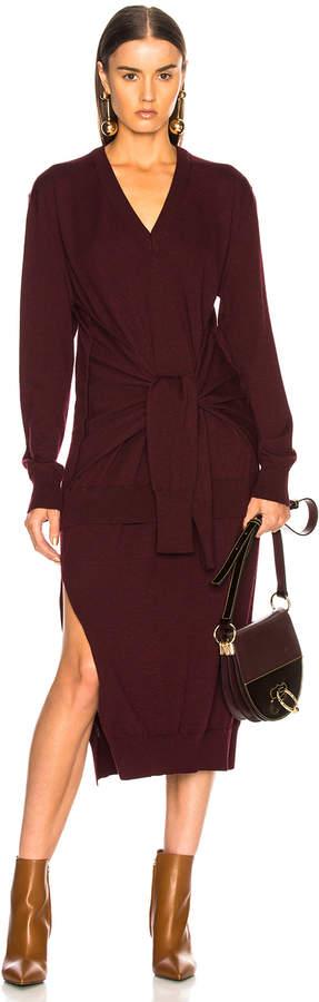 Chloé Light Wool Knit Tied Waist Dress in Burnt Mahogany | FWRD