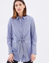 Warehouse Tie Front Dobby Shirt