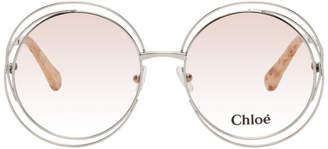 Chloé Silver Circular Spiraling Sunglasses