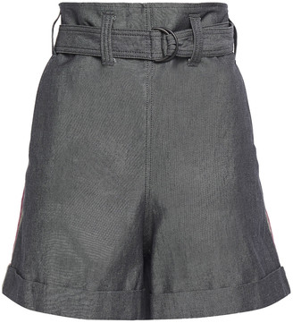 Brunello Cucinelli Belted Bead-embellished Cotton And Linen-blend Shorts