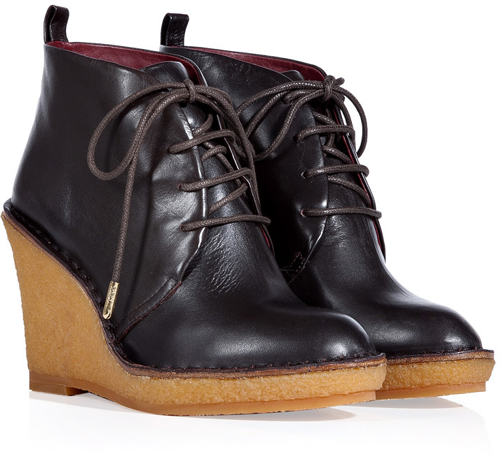Marc by Marc Jacobs Espresso Leather Lace-Up Wedge Booties