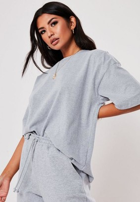 Missguided Gray Drop Shoulder T Shirt
