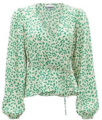 Ganni Blouson-sleeve Floral-print Crepe Wrap Top - Cream Print
