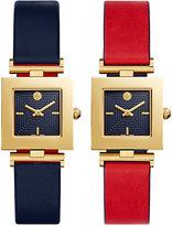 Tory Burch Women's Swiss Sawyer Twist Navy-Red Leather Reversible Strap Watch 25x25mm TB5301