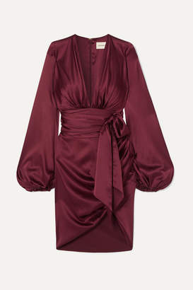 Alexandre Vauthier Ruched Tie-detailed Silk-blend Satin Mini Dress - Burgundy