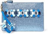 Anya Hindmarch Circulus Large Laser-cut Appliquéd Metallic Textured-leather Pouch - Blue