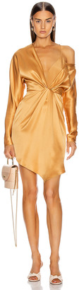 Cushnie Long Sleeved Cascade Mini Dress in Ochre | FWRD