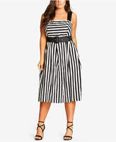 City Chic Trendy Plus Size Belted Striped Dress