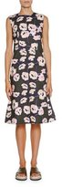 Marni Sleeveless Whisper-Print Dress, Dark Olive
