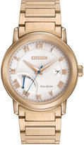 Citizen Men's Eco-Drive Rose Gold-Tone Stainless Steel Bracelet Watch 41mm AW7023-52A