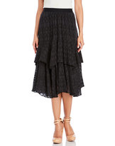 Rebecca Taylor Embroidered Geometric Tiered Silk Midi Skirt
