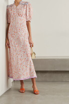 Thumbnail for your product : Rixo Gwen Silk-trimmed Printed Crepe Midi Dress - Orange