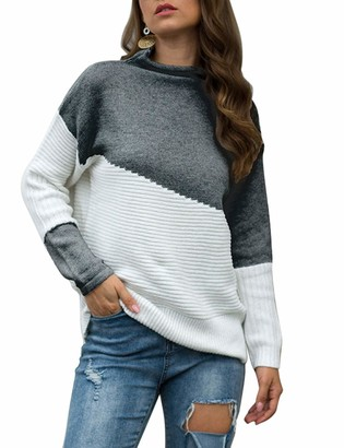 shermie Women Color Block Jumpers Winter Long Sleeve Mock Neck Ribbed Knitted Pullover Sweater Dark Grey