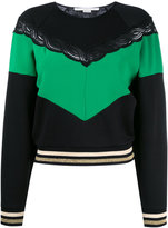 Stella McCartney contrasting stripe panel jumper - women - Cotton/Polyamide/Spandex/Elastane/Viscose - 40