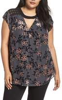 Daniel Rainn Plus Size Women's Floral Burnout Velvet Top
