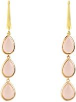 Latelita Sorrento Triple Drop Earring Gold Rose Quartz