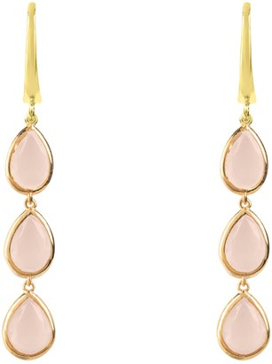 Latelita Sorrento Triple Drop Earring Gold Rose Quartz