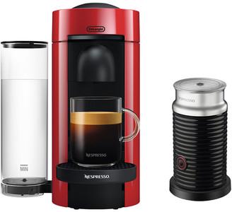 De'Longhi Nespresso Vertuoplus Coffee & Espresso Single-Serve Machine In Cherry Red And Aeroccino Milk Frother In Black